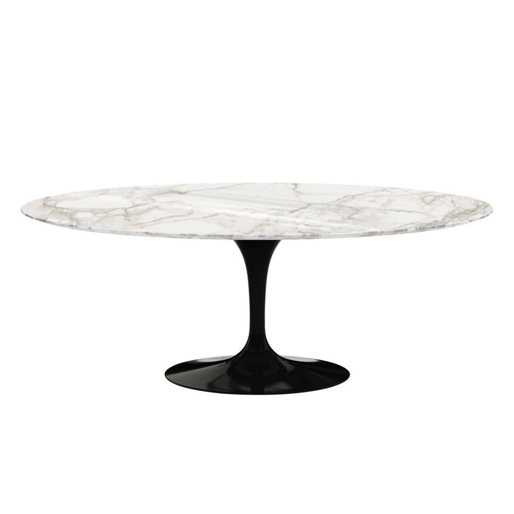 Saarinen Oval Table - Matbord, 198 x 121 cm, Vitt underrede, skiva i glansig vit Arabescato marmor