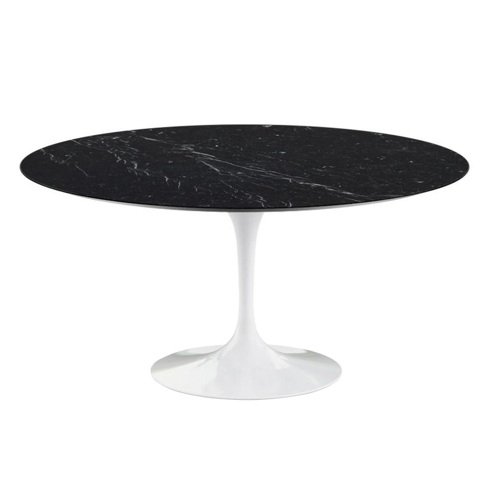 Saarinen Round Table - Matbord, Ø 137 cm, Svart underrede, skiva i glansig svart Marquina marmor