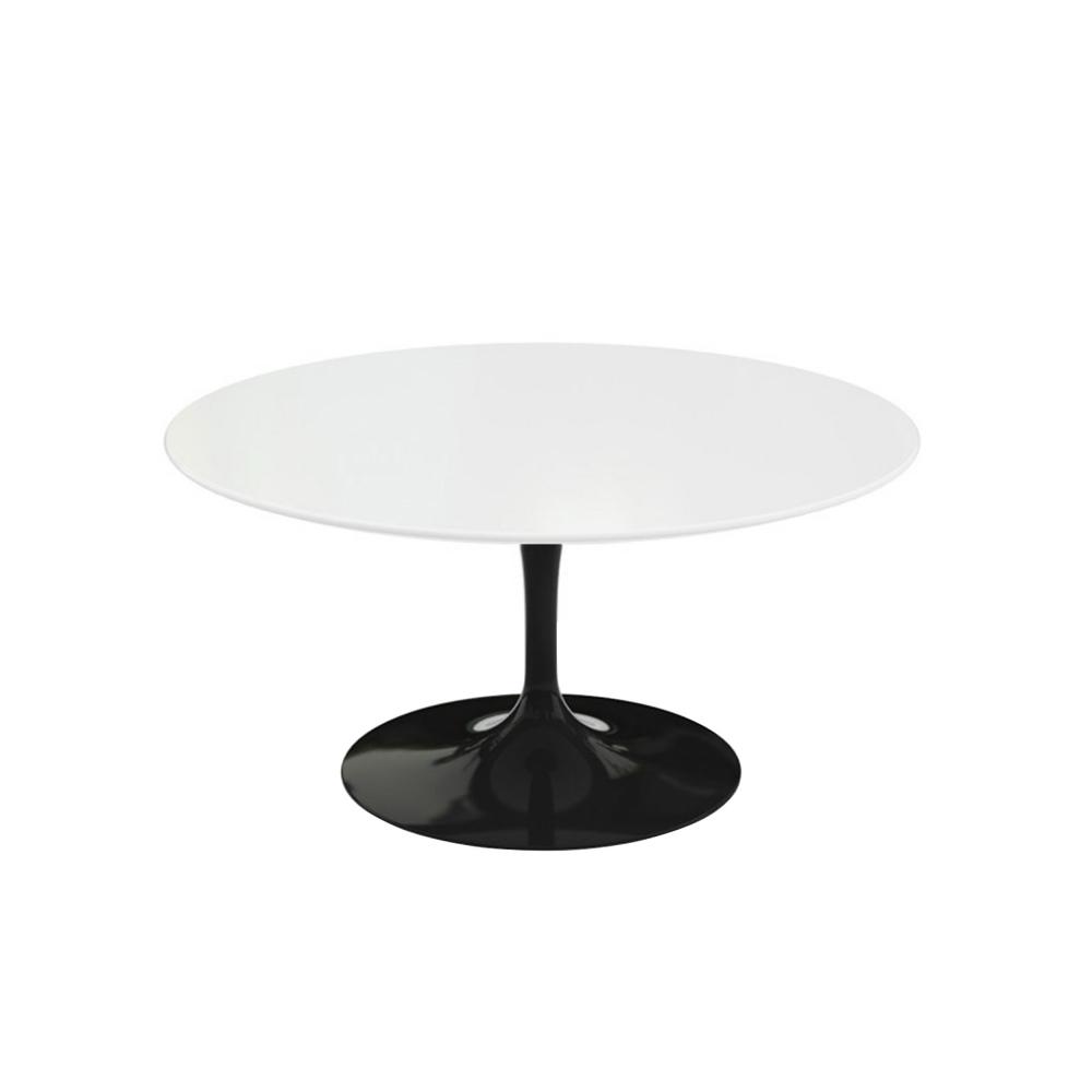 Saarinen Round Table - Soffbord, Svart underrede, skiva i Vit laminat