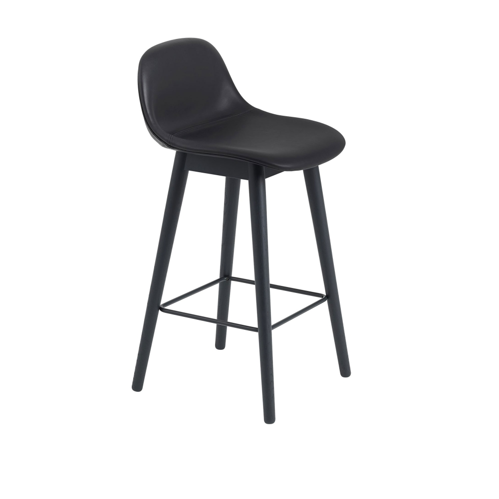 Fiber Bar Stool with Backrest - Wood Base i gruppen Möbler / Stolar / Barstolar & barpallar hos Nordiska Galleriet 1912 (10174530r)