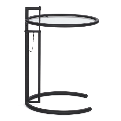 Adjustable Table E 1027 Black Clear Glass