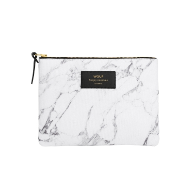 Large Pouch - White Marble
