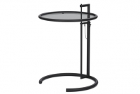 ADJUSTABLE TABLE E1027 BLACK SMOKED GLASS