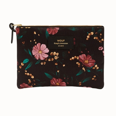 Large Pouch - Black Flowers