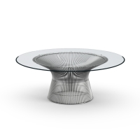 Platner Coffee table, nickel, klart glas