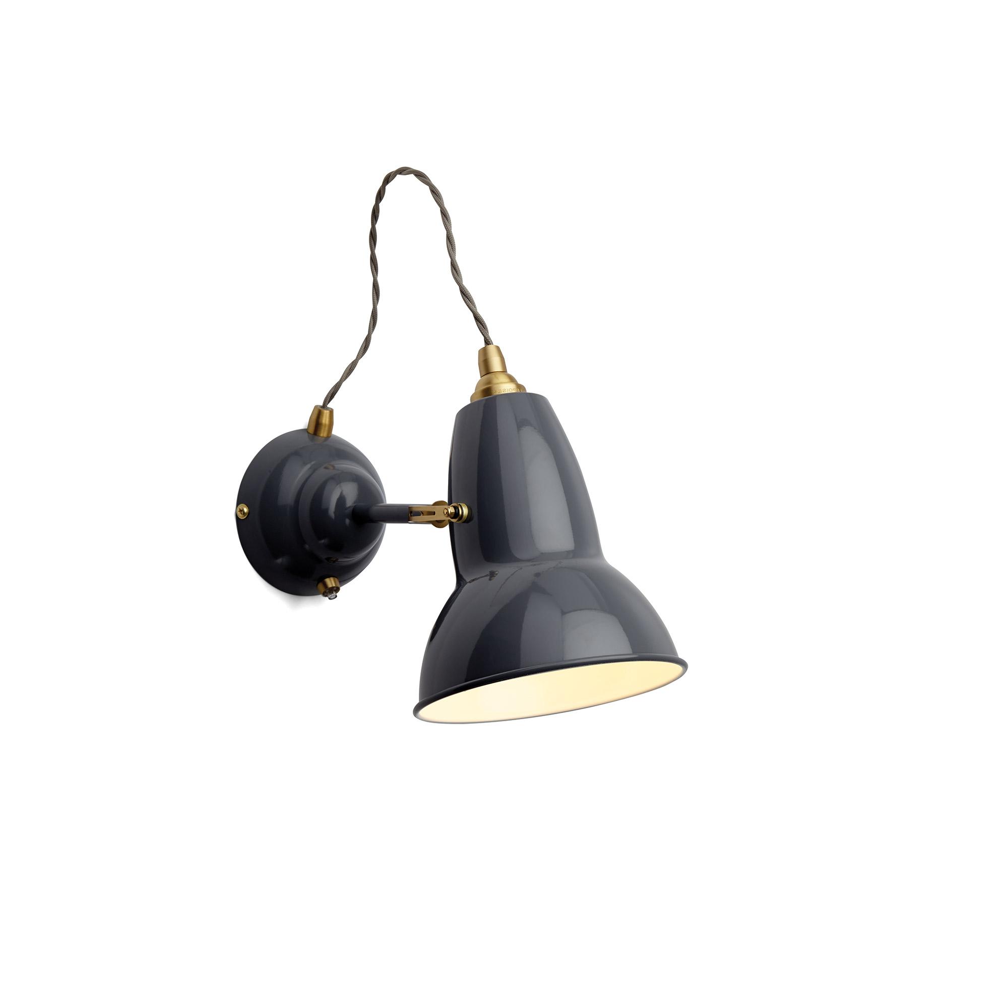 Original 1227 Brass Vägglampa, Elephant Grey