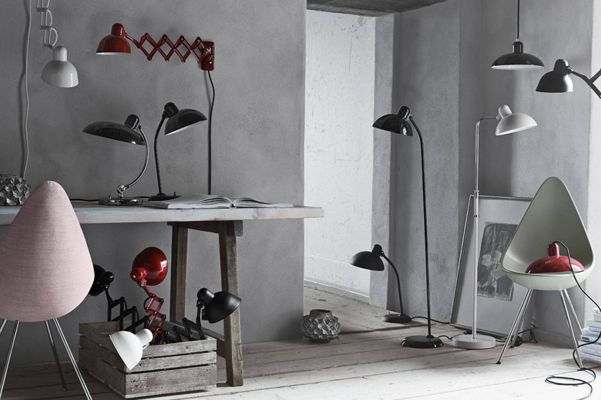 k p kaiser idell golvlampa 6556 fr n fritz hansen. Black Bedroom Furniture Sets. Home Design Ideas
